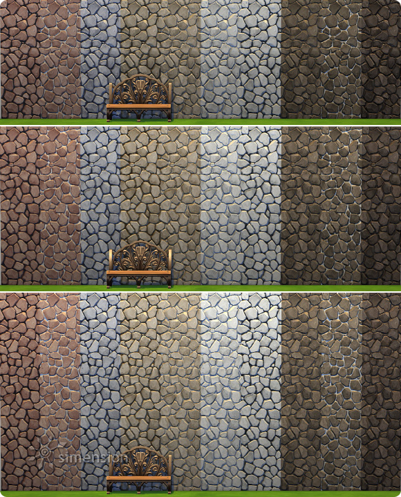 Sims 4 Download Rustic Stone Wall with 10 colors