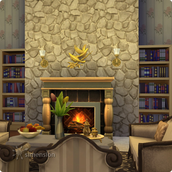 Sims 4 Download – BAUmeister Rustic Stone Wall Maxismatch: example fireplace