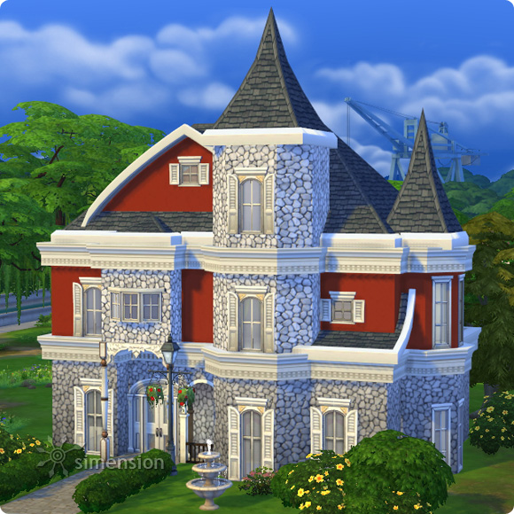 Sims 4 Download – BAUmeister Rustic Stone Wall Maxismatch: example house color combination 2