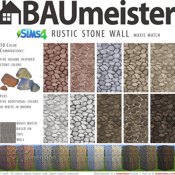 Sims 4 Download – BAUmeister Rustic Stone Wall Maxismatch